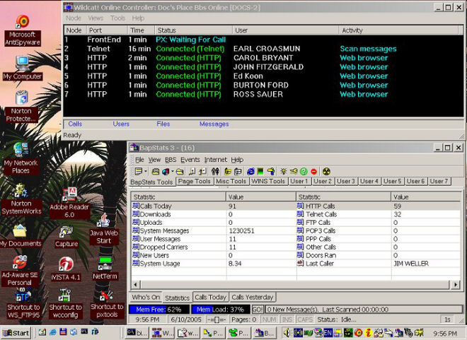 Fidonet Internet BBS Screen Capture Sysops View