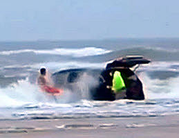 Mini Van Drives Daytona Ocean