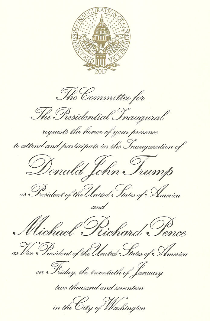 Invitation To Donald J. Trump presidential inauguration