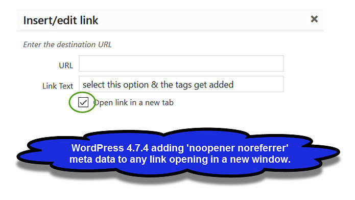 WordPress Noopener Noreferrer Links