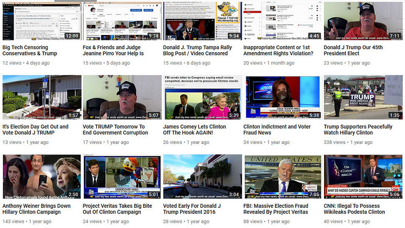 Google Search Pro Trump YouTube Channel Hardly Any Views