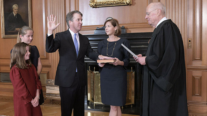 Brett Kavanaugh being sworn into US Supreme Court
