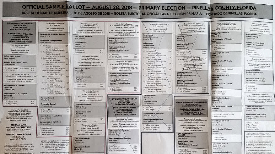 Sample Primary Midterm Ballot Pinellas