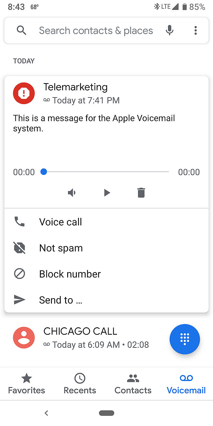 Pixel 3 VM Notification