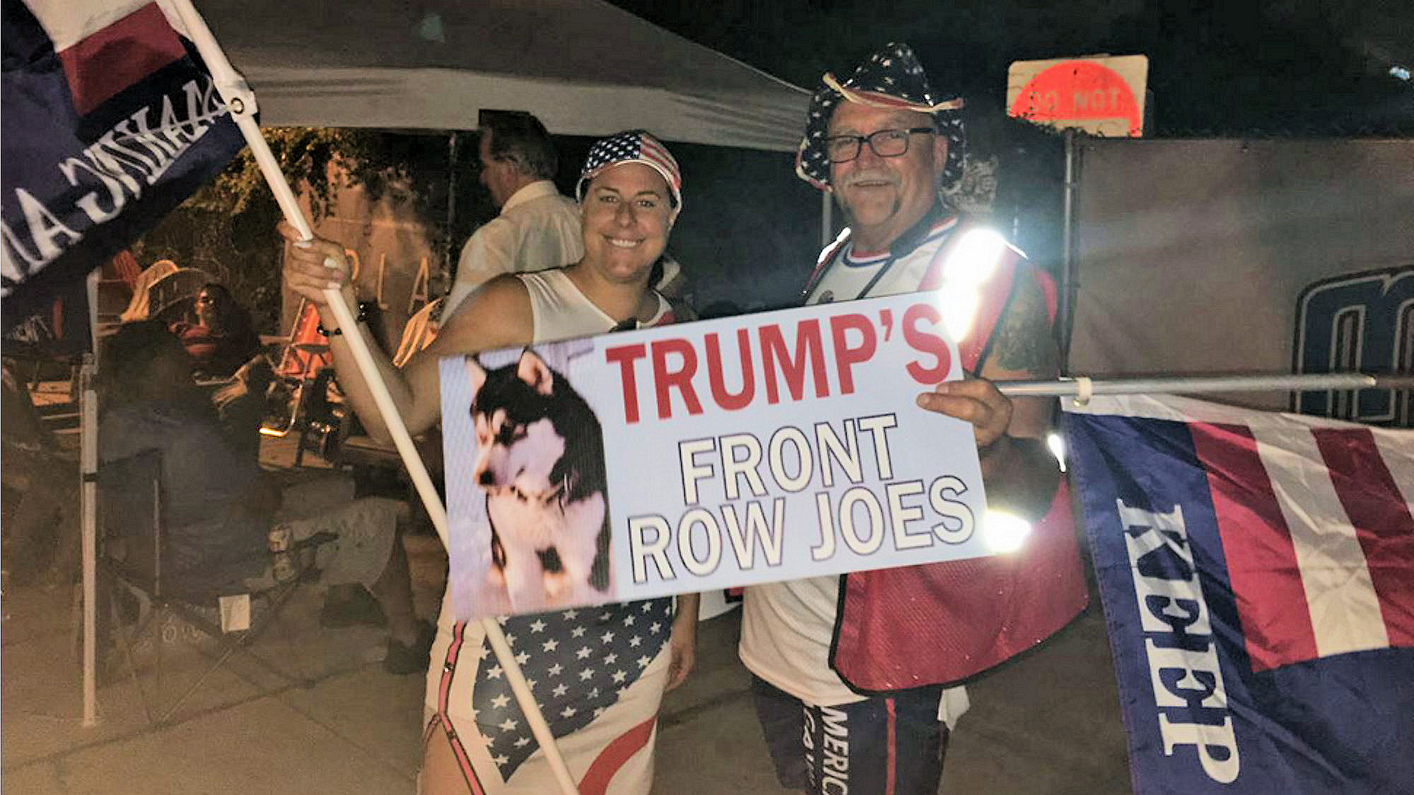 nightime camping out Trump 2020 rally Orlando