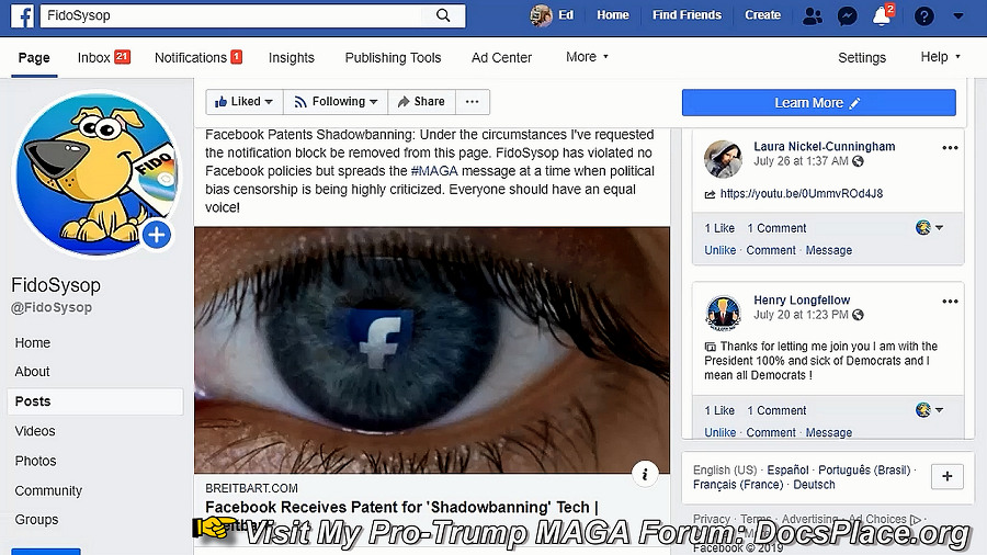 facebook shadowban patent
