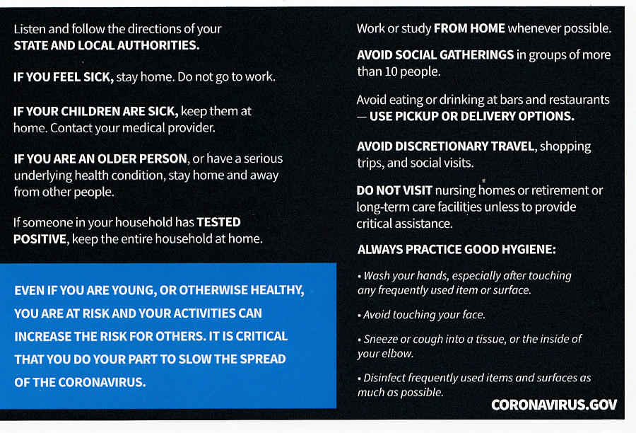 president Trump postcard coronavirus guidelines for America back side