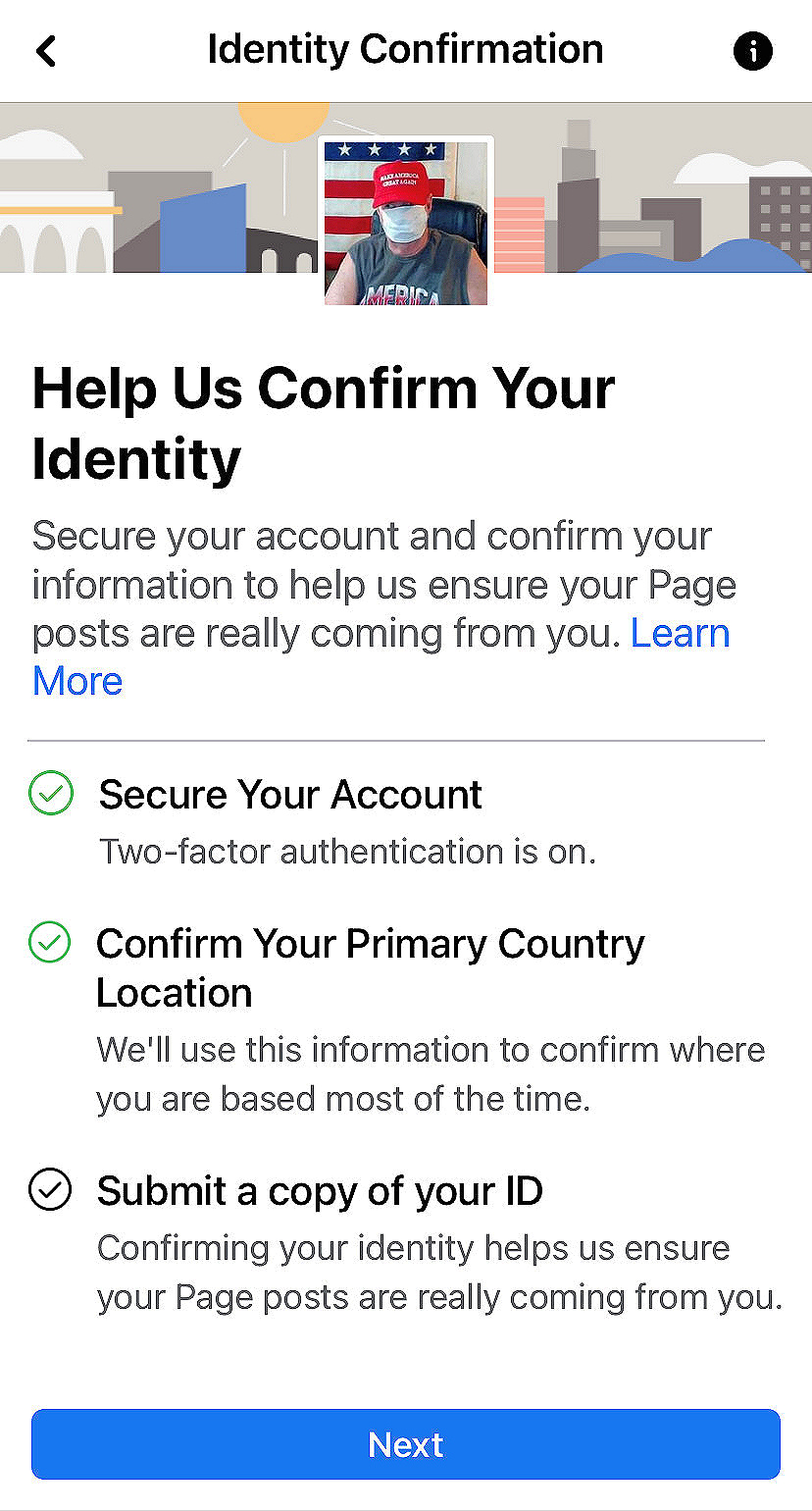 Facebook requires pro-Trump bloggers drivers license photo